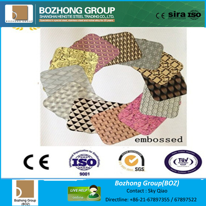 Stainless steel embossing plate